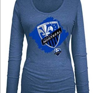 Women's MLS Montreal Impact U Neck L/S Tee NWOT L